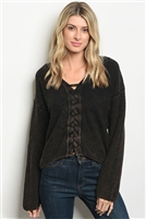 V Neckline Laced Up Detail Knitted Sweater