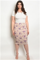 Plus Size Fitted Floral Printed Adorned Midi Skirt