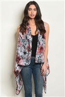 Sleeveless Detailed Printed Kimono