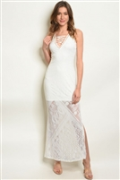 Sleeveless Side Split Lace Maxi Dress - Ivory