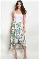 Floral Print High Low Maxi Skirt