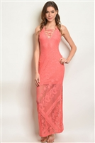 Sleeveless Side Split Lace Maxi Dress - Coral