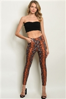 Button Up Snake Print Skinny Pants