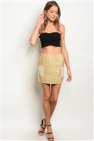 Sequins Detailed Patch Sides Mini Skirt