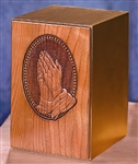 PRAYING HANDS ON SOLID BRONZE BASE ADULT URN