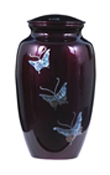 MOTHER OF PEARL METAL URN-BUTTERFLIES