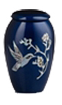 MOTHER OF PEARL BLUE METAL URN WITH HUMMINGBIRD