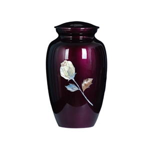 MOTHER OF PEARL PURPLE METAL URN-ROSE