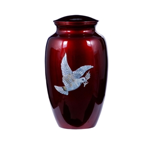 MOTHER OF PEARL BURGUNDY RED INLAY METAL URN-DOVE