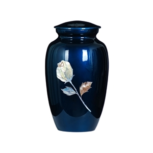 MOTHER OF PEARL BLUE INLAY METAL URN-ROSE