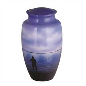 HAND PAINTED METAL URN-FISHERMAN