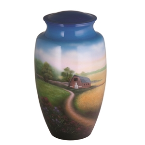 HAND PAINTED METAL URN-COUNTRY SCENE