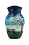 LAKESIDE SCENE PAINTED METAL URN