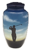 HAND PAINTED METAL URN-GOLF SCENE