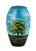HAND PAINTED METAL URN-TREE SCENE