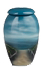 HAND PAINTED METAL URN-BEACH SCENE