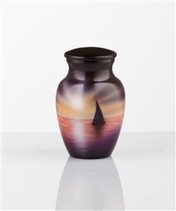 HAND PAINTED METAL URN-SUNSET