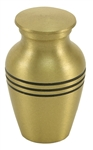 CLASSIC BRONZE CREMATION URN KEEPSAKE W/VELVET BAG