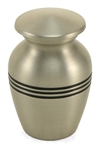 CLASSIC PEWTER CREMATION URN KEEPSAKE W/VELVET BAG