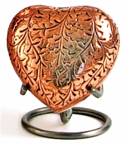 COPPER OAK CREMATION URN HEART KEEPSAKE