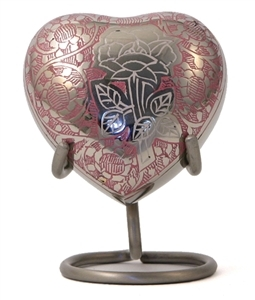ROSE CREMATION URN HEART KEEPSAKE
