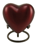 GRECIAN CRIMSON CREMATION URN HEART KEEPSAKE