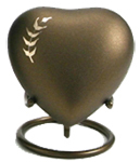 ARIA WHEAT CREMATION URN HEART KEEPSAKE