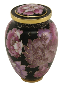 ELITE FLORAL BLUSH CLOISONNE CREMATION URN KEEPSAKE W/VELVET BAG