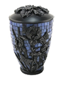 MOSAIC GLASS AND RESIN IRIS CREMATION URN-ADULT