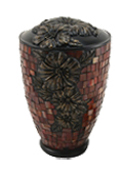 MOSAIC GLASS AND RESIN HIBISCUS CREMATION URN-ADULT