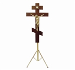 RUSSIAN ORTHODOX CRUCIFIX WITH ADJUSTABLE TRIPOD STAND