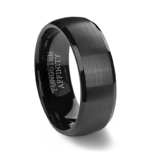 black brushed domed mens tungsten wedding ring - Black Mens Wedding Ring