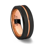 Brushed Black Tungsten Carbide Ring Polished Beveled Edges with Rose Gold Center Channel & Rose Gold Inner Band