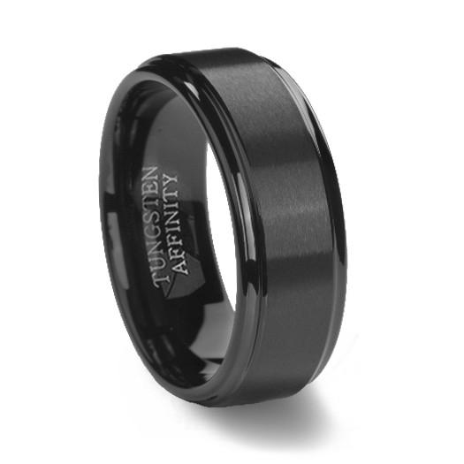 Black Brushed Finish Tungsten Wedding Ring
