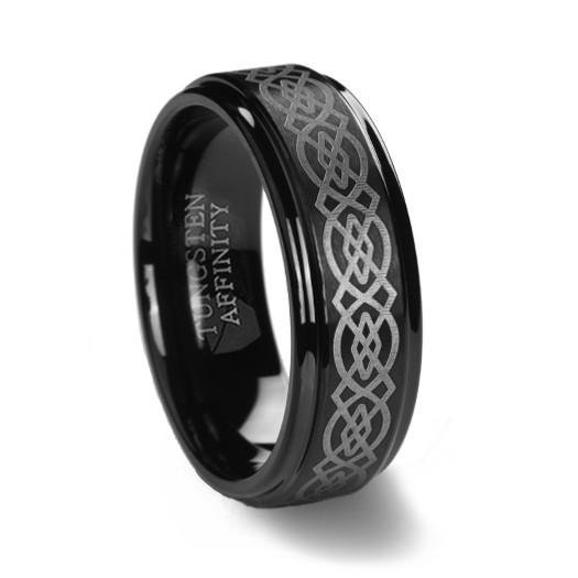 Black Tungsten Ring Brushed Laser Celtic Design | Men's Ring