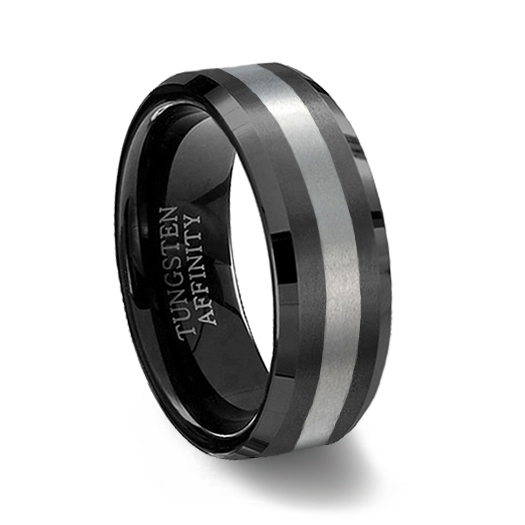 black brushed tungsten carbide wedding ring with beveled edge and natural center - Black Wedding Rings For Him