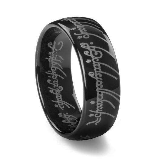 Black Tungsten Carbide Laser Engraved Lotr Elvish Ring