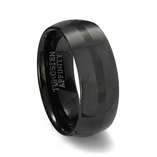 black polished finish tungsten carbide wedding band brushed black center - Tungsten Wedding Rings
