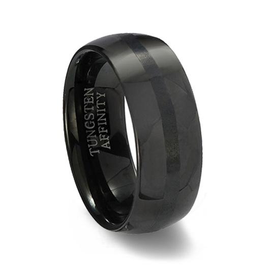 Polished Black Tungsten Wedding Band Brushed Black Center