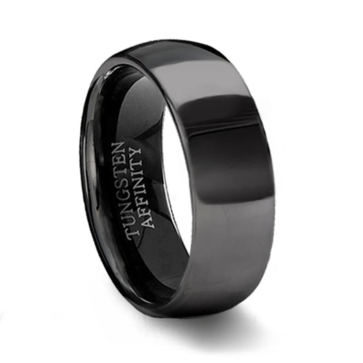 Polished Black Dome Tungsten Wedding Band