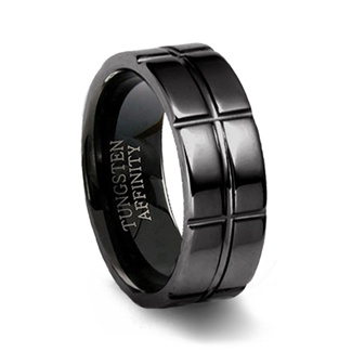 Polished Black Tungsten Ring & Intersecting Grooves