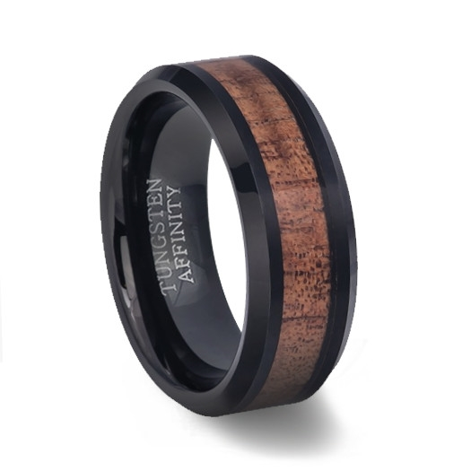 Mens Black Tungsten Wedding Bands.Polished Black Tungsten Ring With Koa Wood Inlay