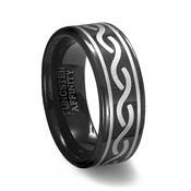 Black Tungsten Carbide Laser Designed Celtic Ring