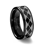 Black Tungsten Carbide Laser Designed Argyle Ring