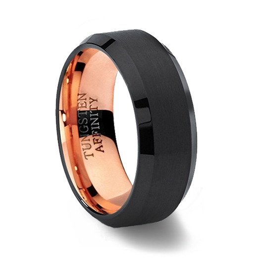 Black & Rose Gold Brushed Tungsten Carbide Ring with Beveled Edges
