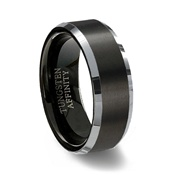 Brushed Black Tungsten Carbide Ring Polished Beveled Band