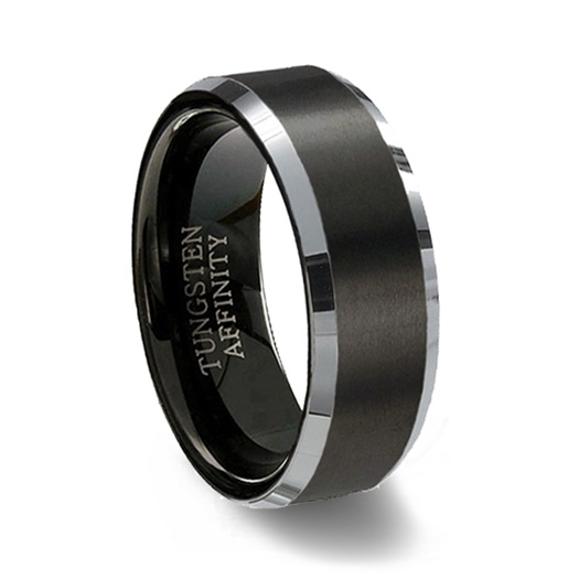 brushed black tungsten carbide ring polished beveled band - Tungsten Carbide Wedding Rings
