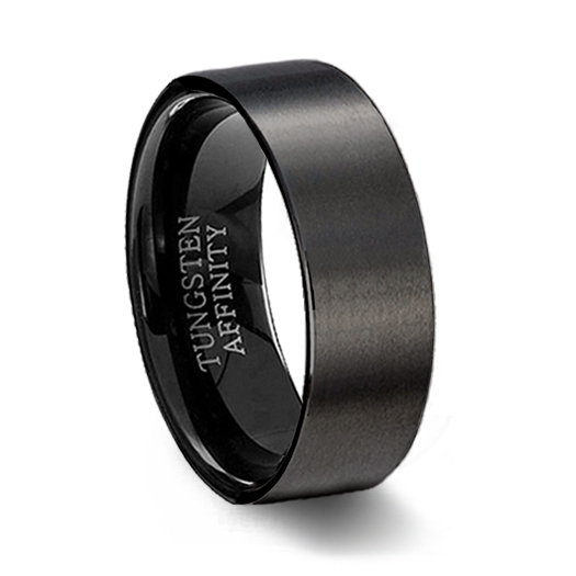Brushed Black Ceramic Pipe Cut Ring Mens Black Wedding Ring
