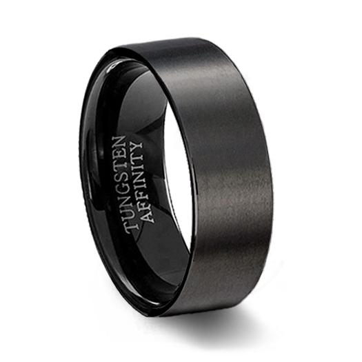brushed black ceramic wedding ring - Mens Black Wedding Ring