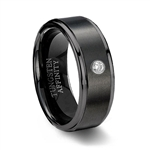 Brushed Black Ceramic Wedding Ring & Cubic Zirconia